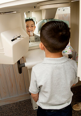 Boy getting dental x-ray